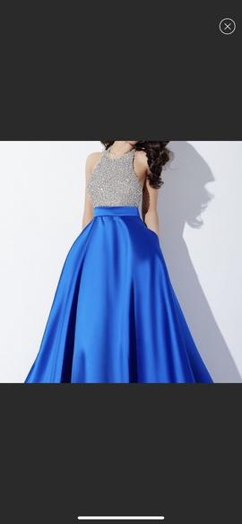 Jovani Blue Size 8 Halter Medium Height A-line Dress on Queenly