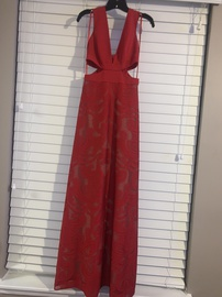 BCBG Red Size 2 Prom Nude Straight Dress on Queenly