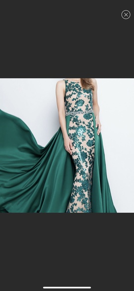 Queenly size 8 Terani Couture Green Train evening gown/formal dress
