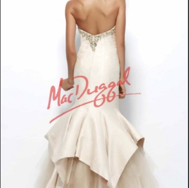 Mac Duggal Gold Size 4 Pageant Tulle Mermaid Dress on Queenly
