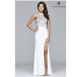 Faviana White Size 2 Straight Sequin Halter Side slit Dress on Queenly