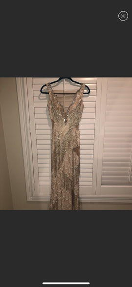 Jovani Nude Size 6 Fringe Tall Height Straight Dress on Queenly