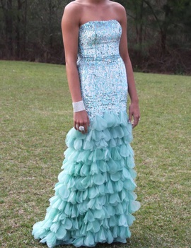 Sherri Hill Blue Size 6 Prom Mermaid Dress on Queenly