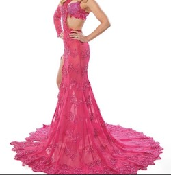 Queenly size 2 Joey Galon Pink Mermaid evening gown/formal dress