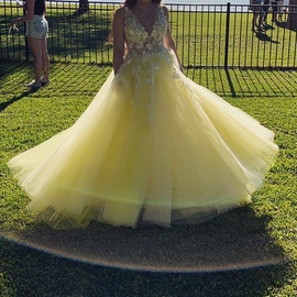 Jovani Yellow Size 6 Prom Lace Ball gown on Queenly