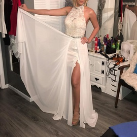 Vienna White Size 4 Train Lace Side slit Dress on Queenly
