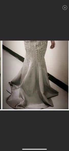 Mac Duggal Silver Size 4 Grey Sequin Mermaid Dress on Queenly