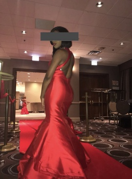 Jovani Red Size 4 Halter Medium Height Mermaid Dress on Queenly