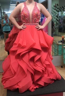 Rachel Allan Pink Size 6 Ruffles Plunge Ball gown on Queenly