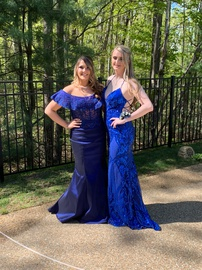 Queenly size 12 Mori Lee Blue Mermaid evening gown/formal dress