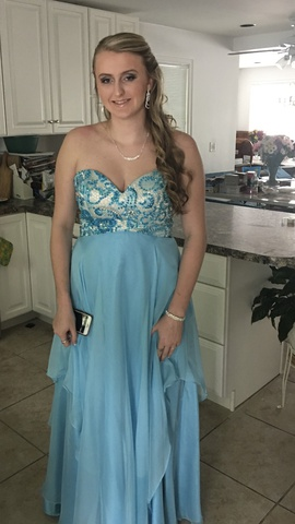 Queenly size 12  Blue Ball gown evening gown/formal dress