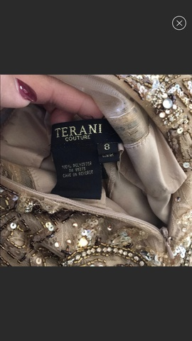 Terani Couture Gold Size 8 Beaded Mermaid Dress on Queenly