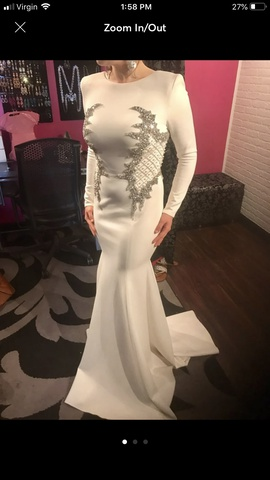 Johnathan Kayne White Size 2 Medium Height Train Dress on Queenly