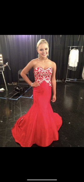 Queenly size 2  Red Mermaid evening gown/formal dress