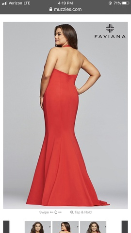 Faviana Red Size 14 Plunge Halter Mermaid Dress on Queenly