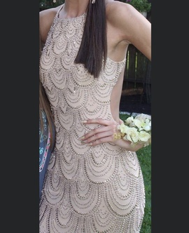 Queenly size 2  Nude Train evening gown/formal dress