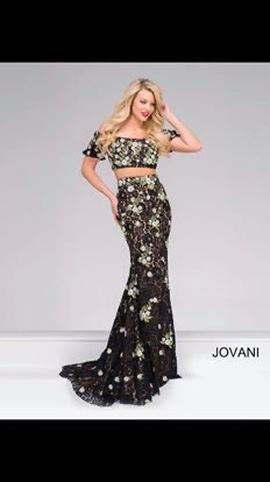 Jovani Black Size 4 Two Piece Train Mermaid Dress on Queenly