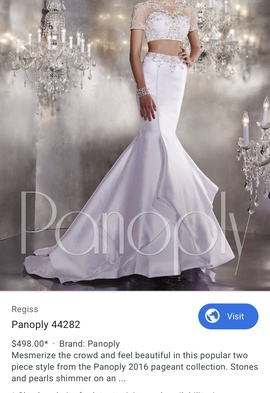 Panoply White Size 2 Sheer Train Mermaid Dress on Queenly