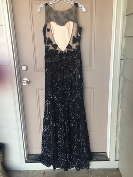 Jovani Black Size 12 Plus Size Jewelled Sequin Straight Dress on Queenly