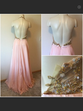 Jovani Pink Size 0 Sheer Plunge Ball gown on Queenly