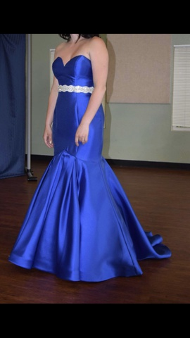 Rachel Allan Blue Size 4 Belt Mermaid Dress on Queenly