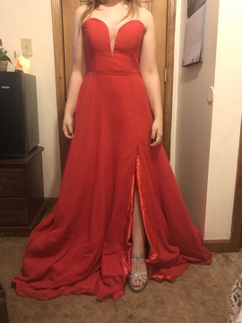 Faviana Red Size 14 Strapless Short Height Train Dress on Queenly