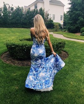 Sherri Hill Blue Size 4 Floral Mermaid Dress on Queenly