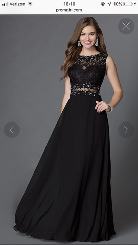 Queenly size 16 PromGirl Black A-line evening gown/formal dress