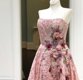 Sherri Hill Pink Size 8 Strapless Floral Ball gown on Queenly