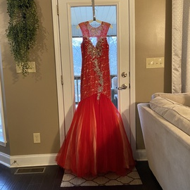 Mac Duggal Red Size 6 Sequin Lace Mermaid Dress on Queenly