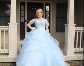 Mori Lee Blue Size 4 Train Short Height Ball gown on Queenly