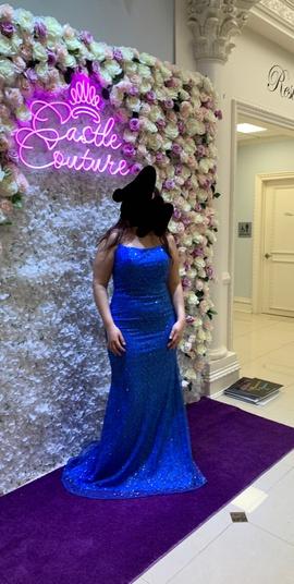 Queenly size 12 Vienna Blue Straight evening gown/formal dress
