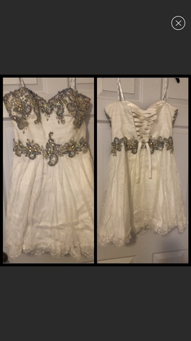Camille La Vie White Size 8 Homecoming Beaded Cocktail Dress on Queenly