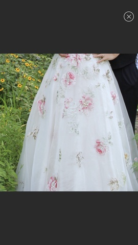 Sherri Hill White Size 6 Strapless Floral Ball gown on Queenly