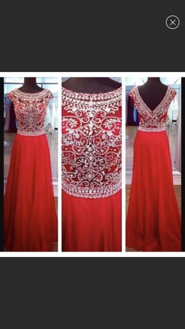 Jovani Red Size 6 Sequin A-line Dress on Queenly