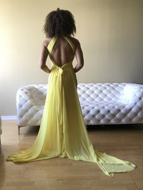 JJs House Yellow Size 6 Prom Halter A-line Dress on Queenly