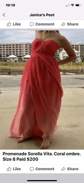 Sorella Vita Orange Size 8 Coral Prom A-line Dress on Queenly