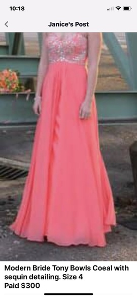 Queenly size 4 Tony Bowls Orange A-line evening gown/formal dress