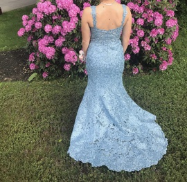 Sherri Hill Blue Size 8 Prom Backless Train Mermaid Dress on Queenly