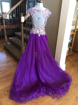 Tony Bowls Purple Size 2 Cap Sleeve Sequin Cocktail Dress on Queenly