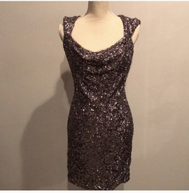 Queenly size 4 Sherri Hill Silver Cocktail evening gown/formal dress