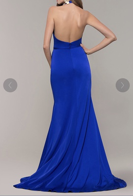 Terani Couture Blue Size 8 V Neck Wedding Guest Train Dress on Queenly