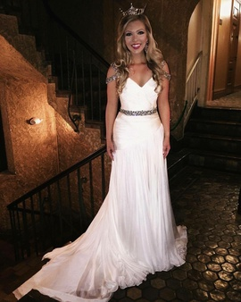 Jovani White Size 2 Jewelled Train A-line Dress on Queenly