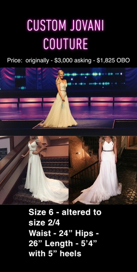 Queenly size 2 Jovani White A-line evening gown/formal dress