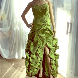 Mori Lee Green Size 14 Lace Lime A-line Dress on Queenly