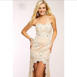 Jovani Nude Size 2 Prom High Low Straight Dress on Queenly