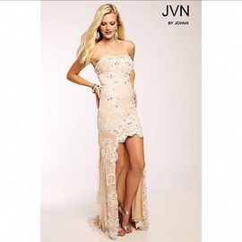 Queenly size 2 Jovani Nude Straight evening gown/formal dress