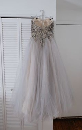 Terani Couture Silver Size 4 Sweetheart Strapless Ball gown on Queenly
