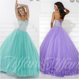 Tiffany Designs Purple Size 4 Strapless Ball gown on Queenly