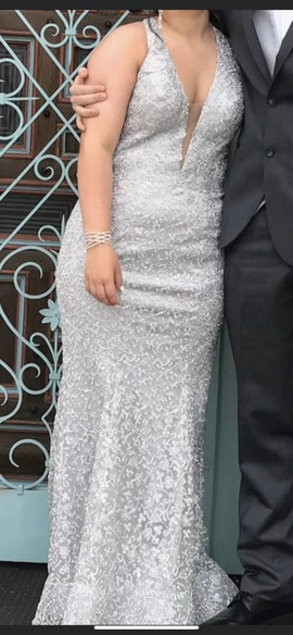 Queenly size 8  Silver Mermaid evening gown/formal dress